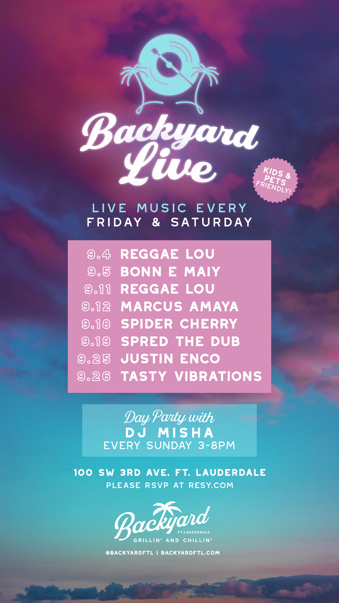 Schedule of Live Music for September 2020 at Backyard