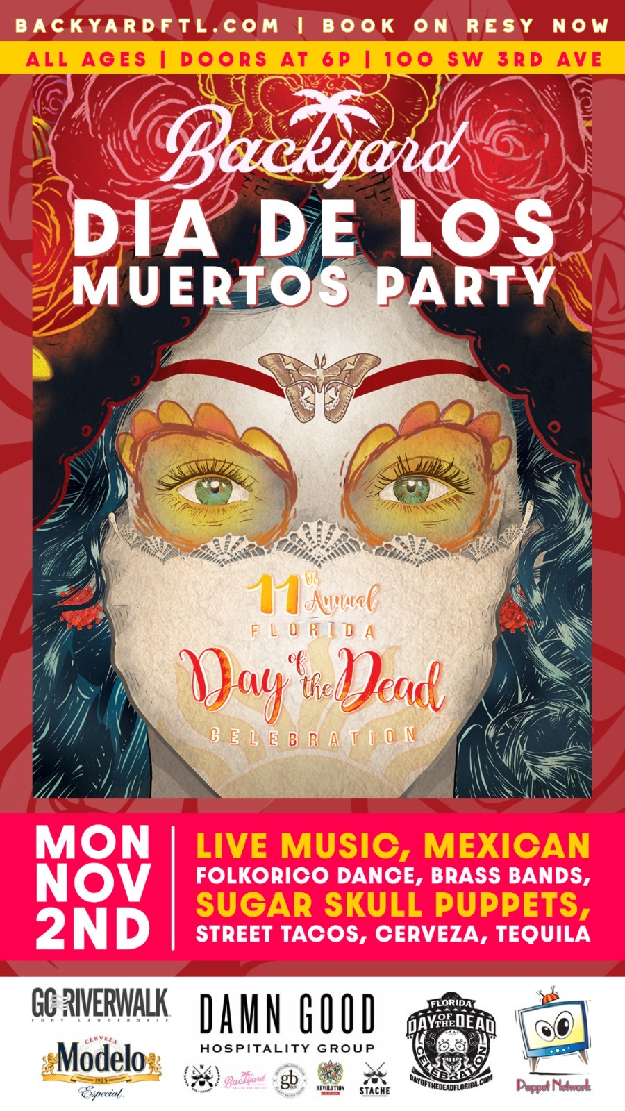 Poster for the Backyard Dia De Los Muertos Party